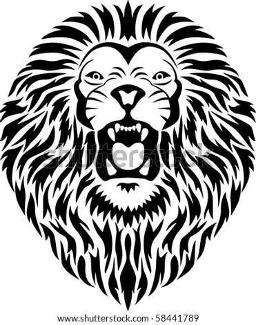 stock vector : Lion head tribal tattoo