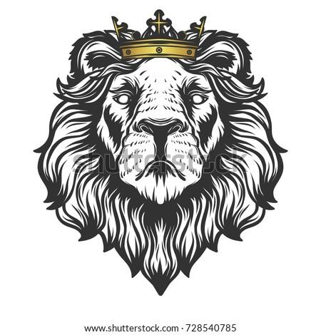 Lion Head With Crown Tattoo Design Digitalspace Info