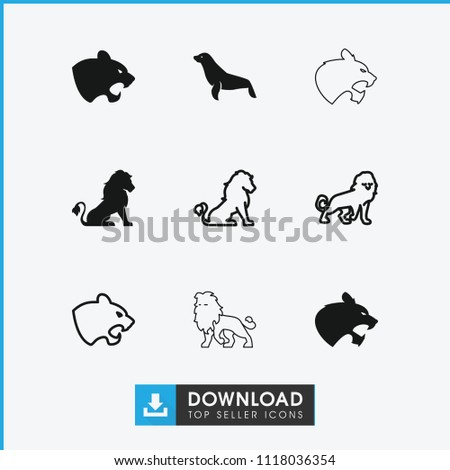 lion icon collection of 9 lion