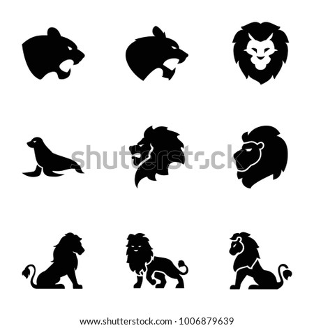lion icons set of 9 editable