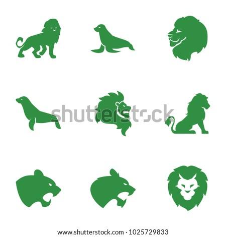 lion icons set of 9 editable