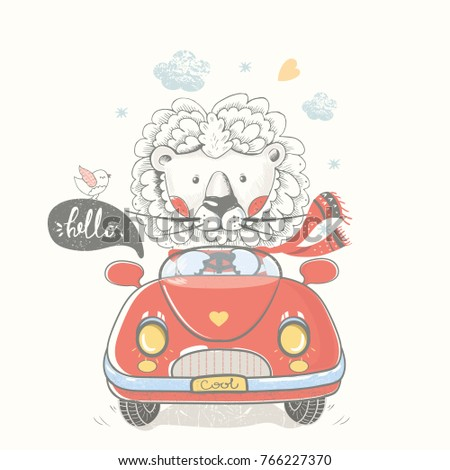 lion in car.hand drawn vector illustration.can be used for kid's or baby's shirt design,fashion print design,fashion graphic,t-shirt,kids wear