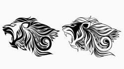 lion in floral ornament. vector illustration