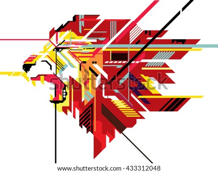 Stock Photo Lion in geometric line