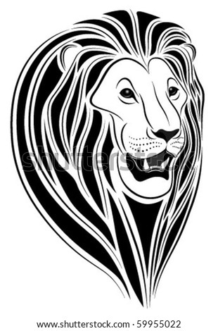 stock vector Lion in the form of a tattoo