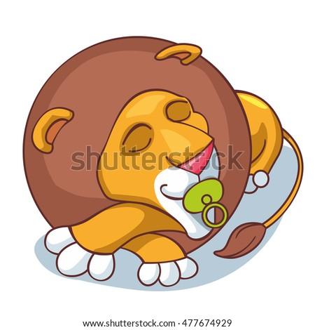 lion is sleeping like a child