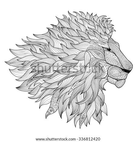 lion isolated animal zentangle