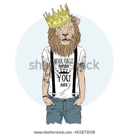 lion king hipster with tattoo