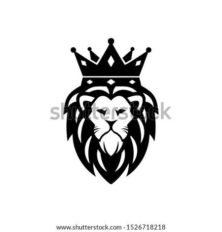 lion leo king crown vector logo