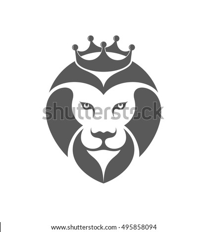 Lion. Logo. Abstract lion with crown on white background