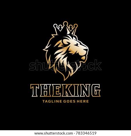 lion logo   crown king lion