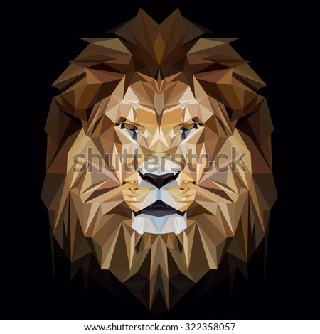 lion low poly design triangle