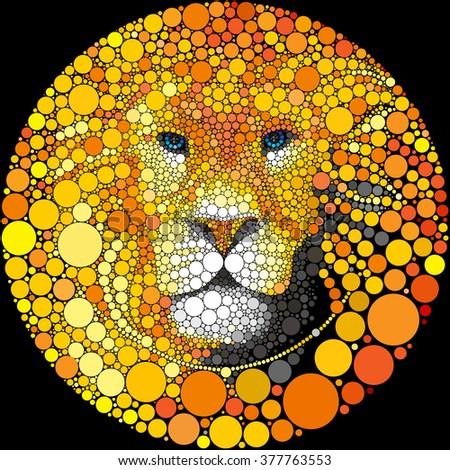 lion mane portrait vector lion
