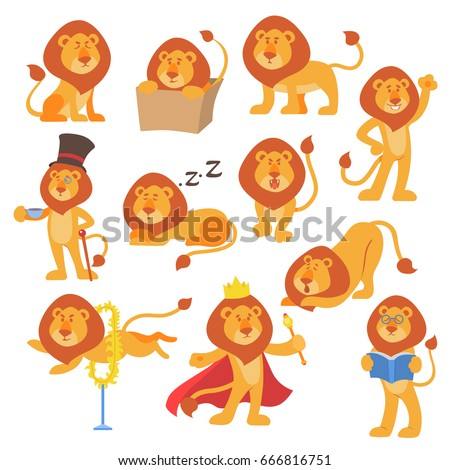 lion mascot vector pose happy