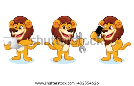 Lion Mascot Vector with laptop, phone and tools #402554626
