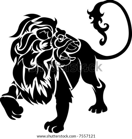 Lion.  Monochrome vector illustration of a stylised lion