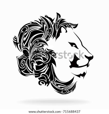 Lion on a white background, tribal, illustration