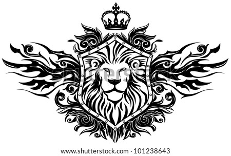 Lion On Shield Insignia