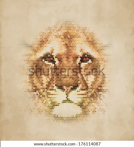 Lion portrait made of geometrical shapes Vintage Design