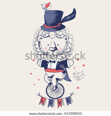 lion ridding on a bicycle hand