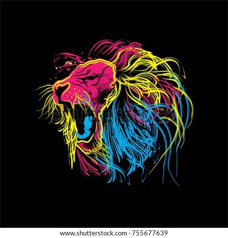 Stock Photo lion roar colourfull vector logo