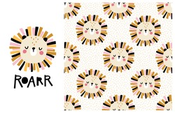 Lion. Roar. Cute face of an animal with lettering and seamless pattern. Childish print for nursery in Scandinavian style. Ideal for baby posters, clothes. Vector cartoon illustration in pastel colors.