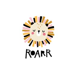 Lion. Roar. Cute face of an animal with lettering. Childish print for nursery in a Scandinavian style. Ideal for baby posters, cards, clothes. Vector cartoon illustration in pastel colors.