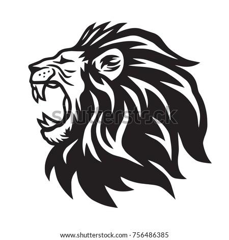 Lion Roaring Vector Icon Logo Template