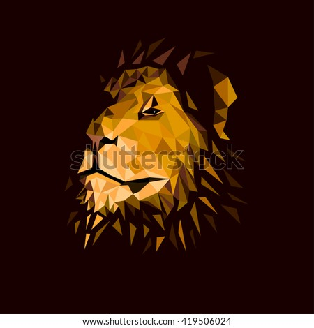 lion's head on a dark background