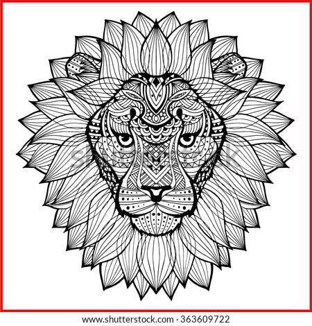 lion's head painted tribal