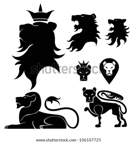 lion set heraldry