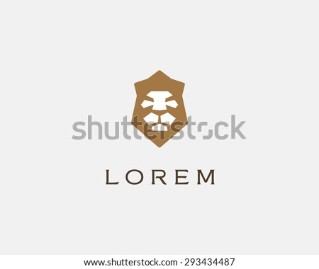lion shield vector logo design
