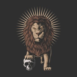 Lion stepped on a human skull vector illustration for your company or brand