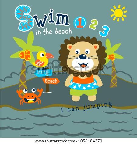 lion swim in the beach funny animal cartoon,vector illustration  #1056184379