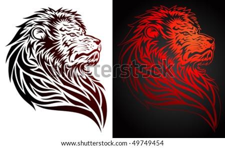 Lion tribal/tattoo style