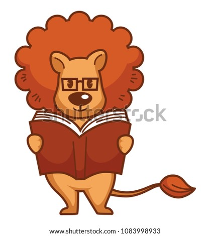 Lion with big mane in glasses reads book