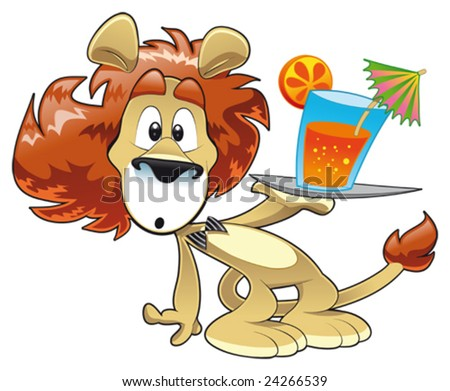 Lion Cartoon Character on Stock Vector   Lion With Drink  Funny Cartoon And Vector Character