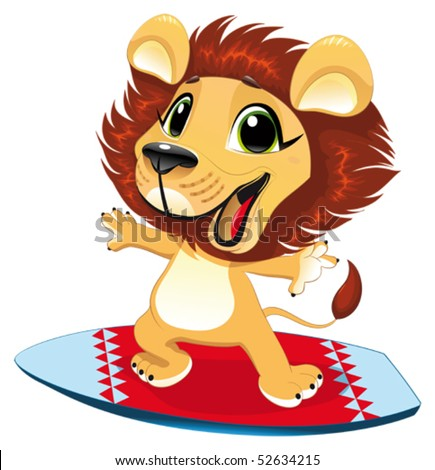 Lion Cartoon Characters on Stock Vector   Lion With Surf  Funny Cartoon And Vector Character