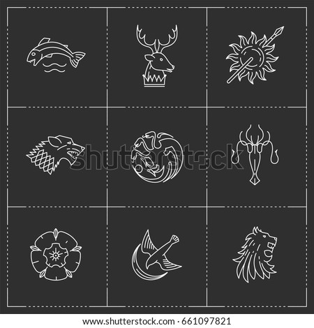 Stock Photo Lion, wolf, dragon, rose, octopus, fish, deer, bird, sun icons in thin outline style. Vector illustration