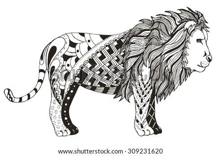lion zentangle stylized  vector