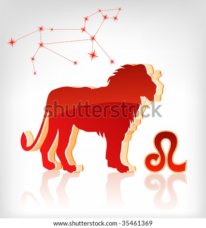 lion zodiac astrology icon for horoscope - vector illustration