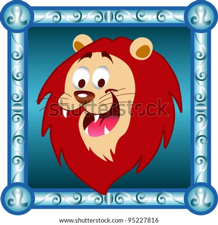 Lion Cartoon Character on Lion Zodiac Cartoon Character Vector Icon Horoscope Symbol   Sign