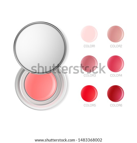 Lip balm or cheek blushes round container template. Lip cream transparent 3d realistic vector packaging with white silver cap isolated on white background. Lipstick color swatch set. Top view.