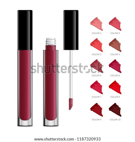 Lip gloss tube template. Lip cream plastic transparent 3d realistic vector packaging, opened and closed with black cap isolated on white background. Lipstick color swatch set.