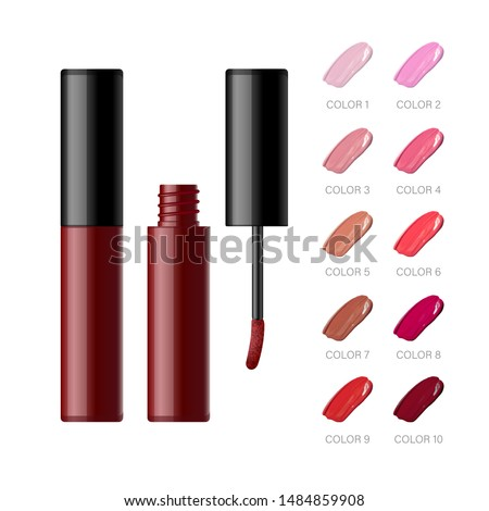 Lip gloss tube template. Vector 3d realistic lip balm blank plastic container with black cap. Makeup lip product solid packaging opened and closed, isolated. Liquid lipstick color swatch set.