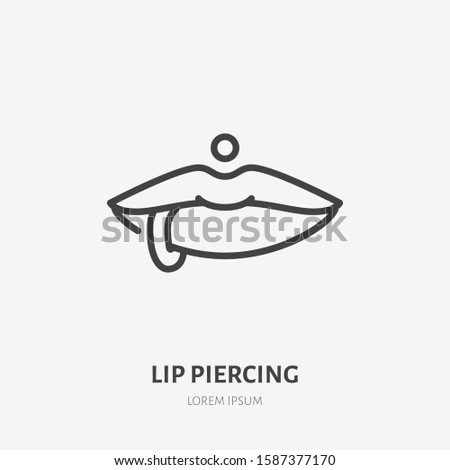 lip piercing line icon  vector
