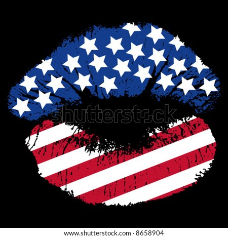 Lip print with stars and stripes pattern on black background