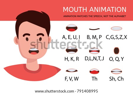 Lip sync collection for animation. Cartoon character mouth and lips sync for sound pronunciation. Learning English alpabet vector illustration.