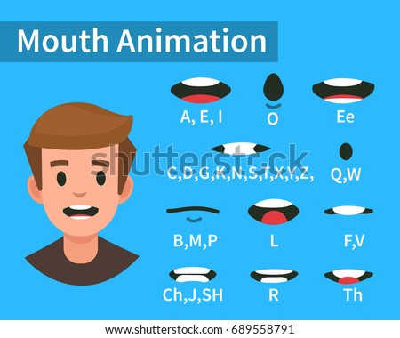Lip sync collection for animation. Flat style vector illustration isolated on white background.