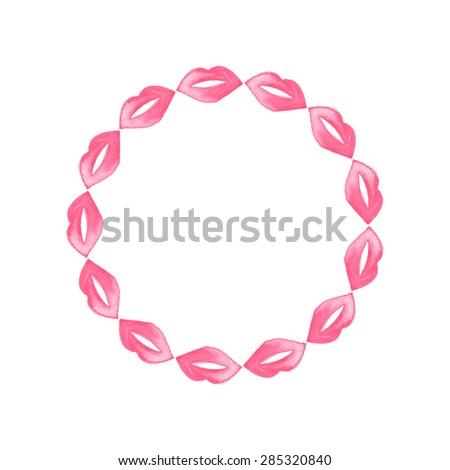 lip wreath hand drawn lipstick